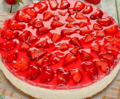 Diabetic No-Bake Sugar Free Strawberry Cheesecake